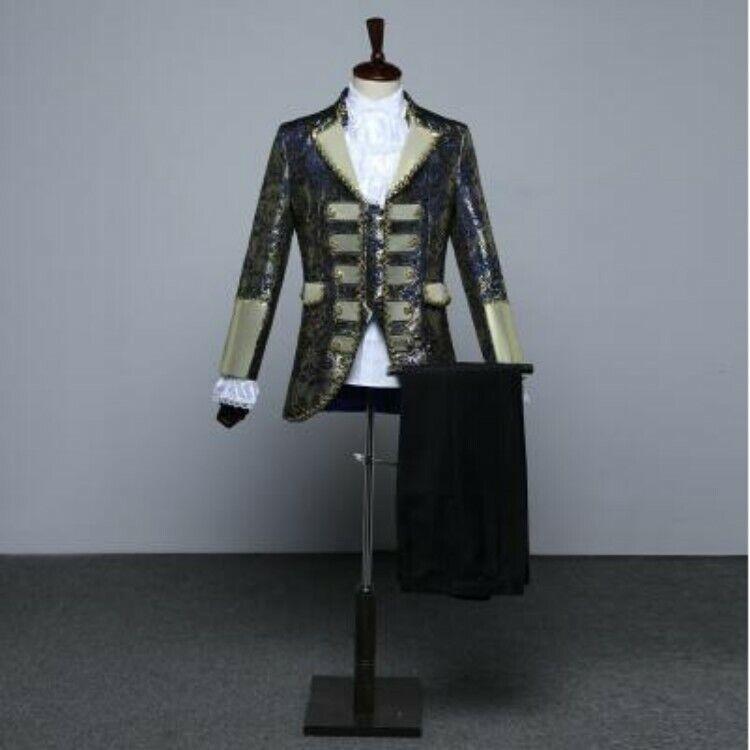 Mens Coat pants vest 3pcs Floral Palace Gown Performance Dress Sets Show Suits