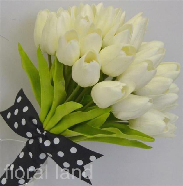 1x Latex cream ivory tulip artificial silk flower tulips posy wedding bouquet