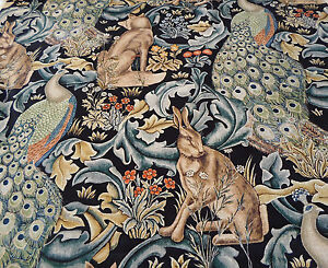 William Morris Curtain Upholstery Fabric Forest Charcoal 1 Metre