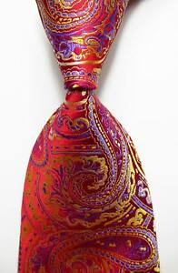 New-Classic-Paisley-Red-Gold-Blue-JACQUARD-WOVEN-100-Silk-Men-039-s-Tie-Necktie
