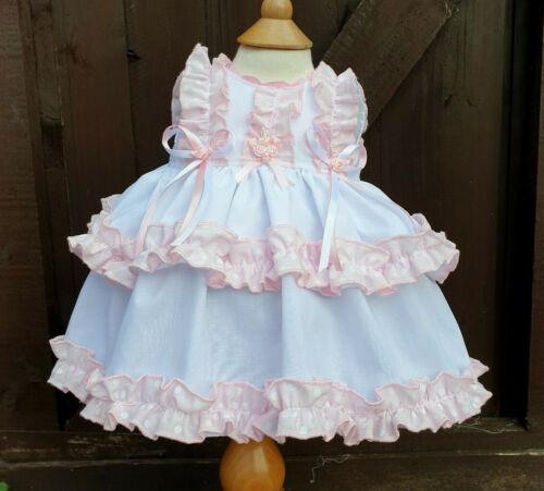 Dream Bianco Rosa a Pois Balze Foderato tradizionale Abito senza maniche 0-4 ANNI O