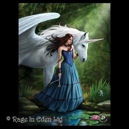 39.5x29.5cm *ENCHANTED POOL* Goth Fantasy Unicorn Art 3D Print By Anne Stokes