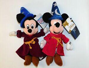 Lot-2-Disney-Store-Fantasia-Mickey-Mouse-Beanies-Sorcerer-Mickey-Original-amp-2000