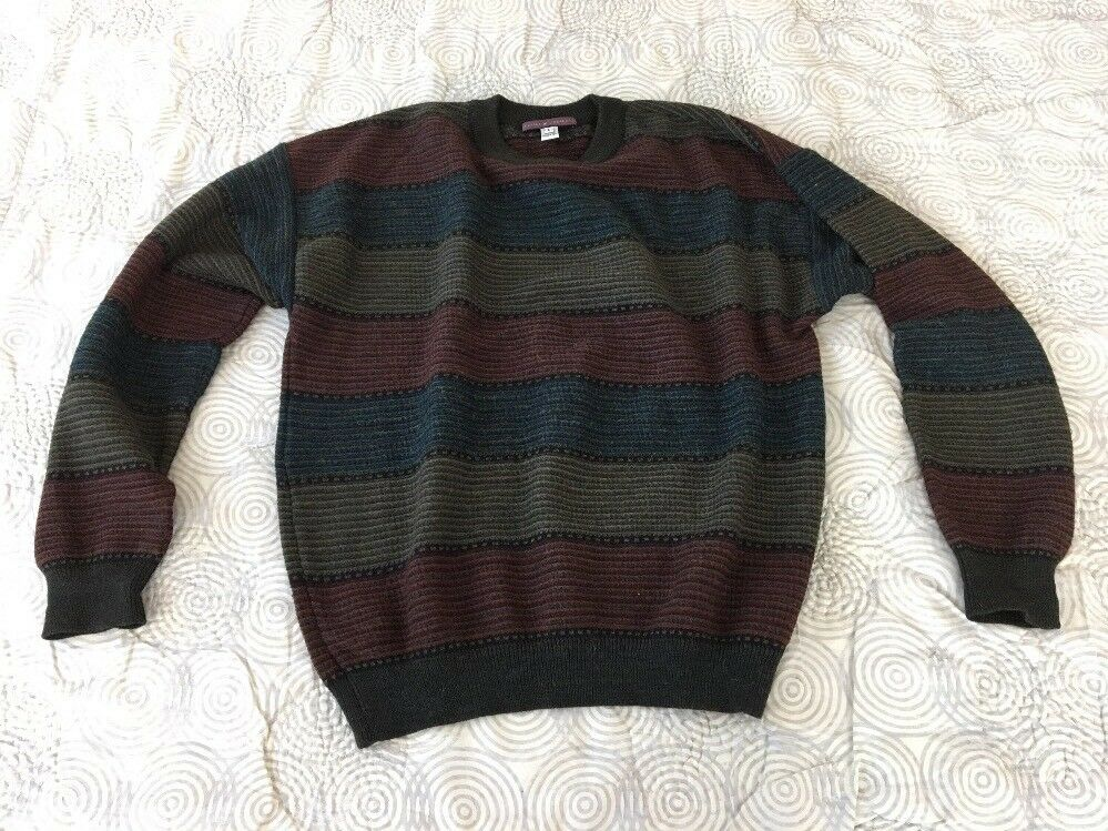 Peruvian Connection Striped Baby Alpaca Wool Sweater Mens Sz L