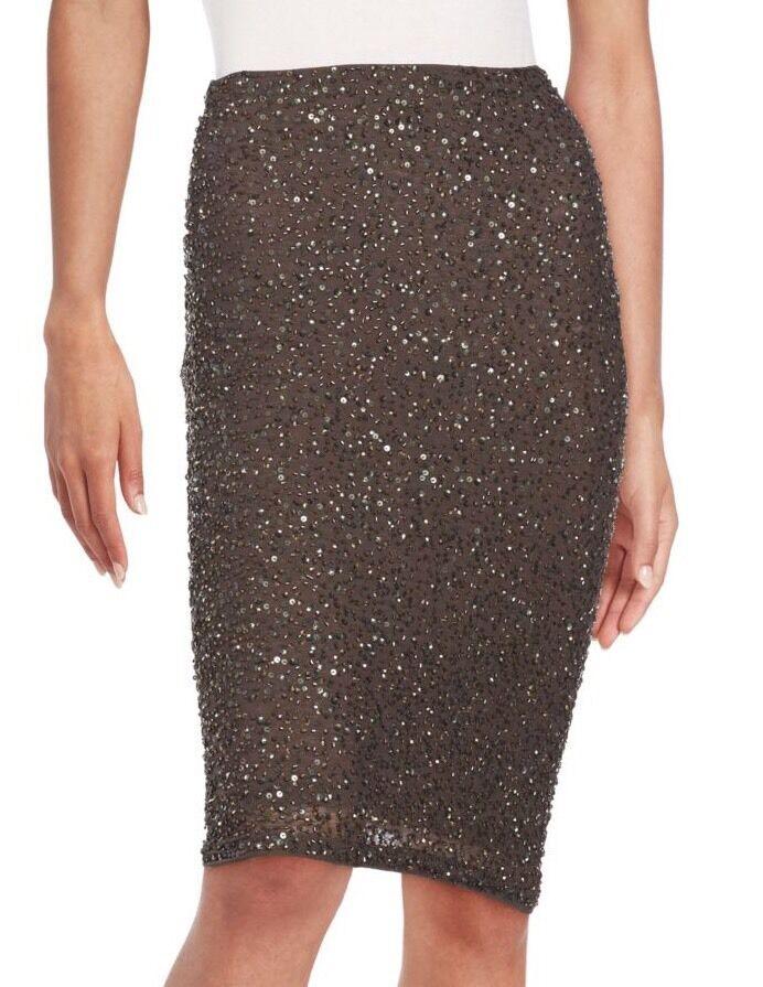 Alice + Olivia 'Ramos' Fully Sequined  Beaded Pencil Skirt - Khaki- New -