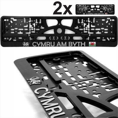 2x Black Number Plates Surrounds Chrome Deutschland 3d Gel Germany Coat of Arms