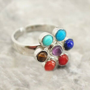 Adjustable-Jewelry-Thumb-Healing-Stone-Reiki-Gem-Ring-7-Chakra-Silver-Plated