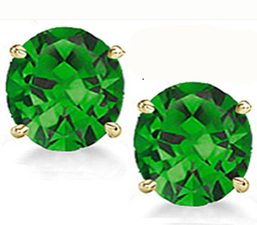 14K GOLD EMERALD  2.86 CARAT ROUND SHAPE STUD PUSH BACK EARRINGS 4mm 80% SALE!