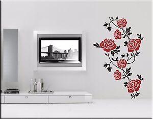 Adesivi Floreali Da Parete.Dettagli Su Adesivi Murali Rose Rosse Decorazioni Floreali Da Parete Wall Stickers Ws0431