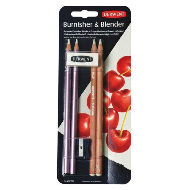 Derwent Pack de 2 Crayons Illuminateur et 2 Mélangeur Plus Gomme Taille-Crayon