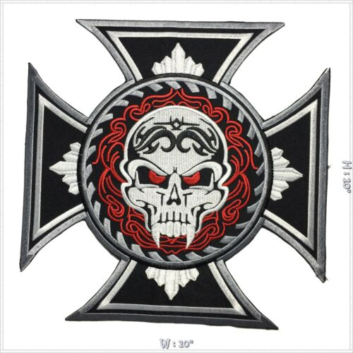 Skull Cross Chopper Biker Motorcycle Iron on Embroidered Large Back patch XL