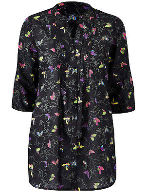 New Ladies Anthology Pleat Front Cotton Print Tunic Top Blouse Plus Size 12-32
