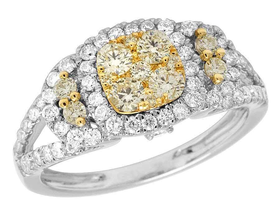 Ladies 14K White gold Genuine Yellow Diamond Cluster Engagement Ring 1.20CT 9MM