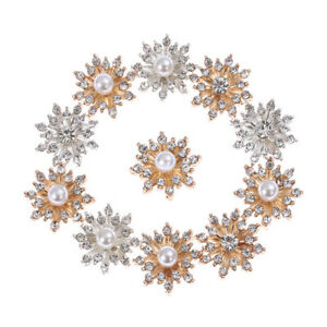 10PCS-Vintage-Rhinestone-Snowflake-Buttons-Plating-Pearl-DIY-Sewing-Craft-HOT