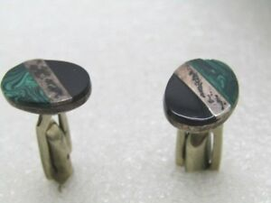 Vintage-Sterling-Malachite-Onyx-Cufflinks-Mexico-simulated-Signed-T11-04