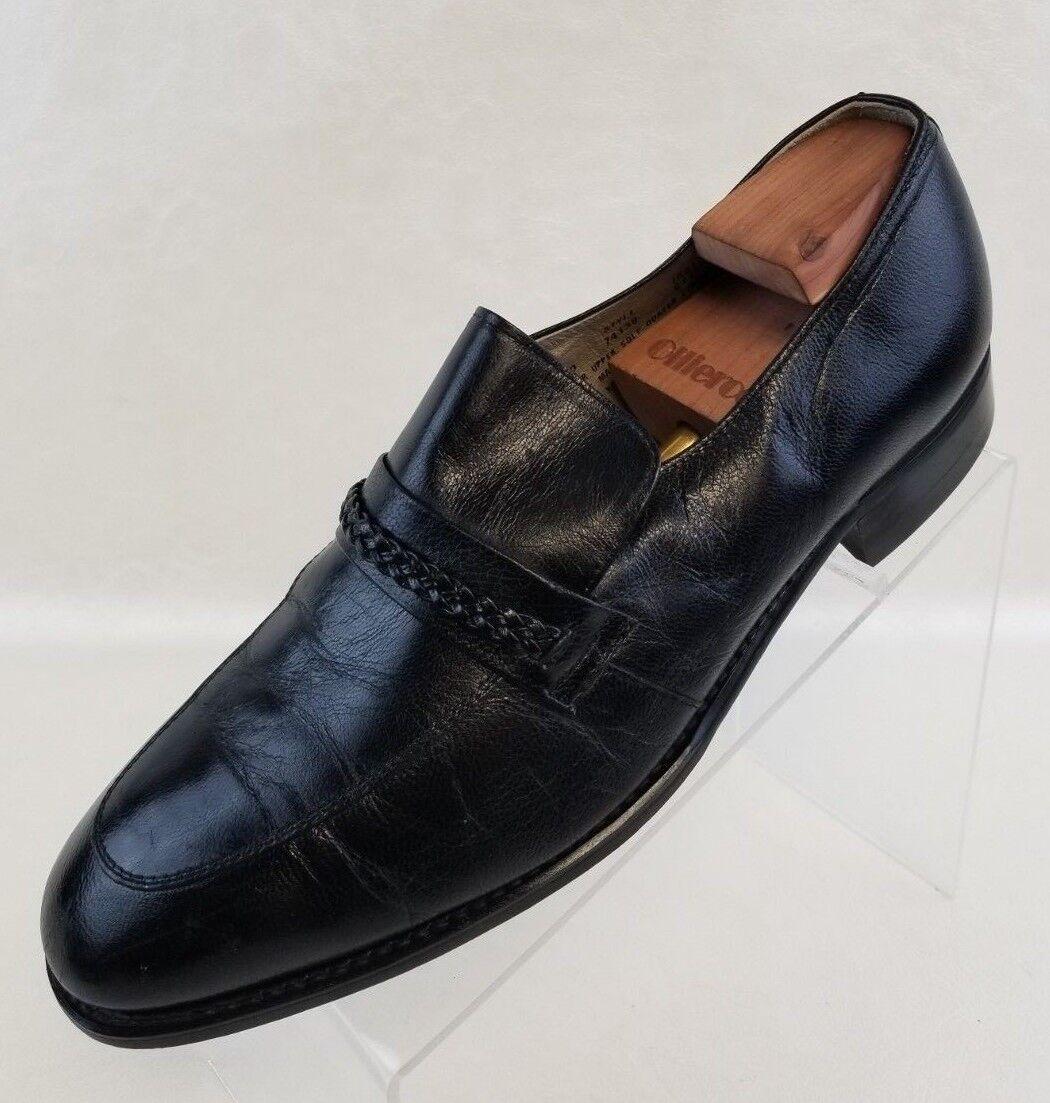 Sears Loafers Apron Toe Black Kidskin Shoes Leather Slip On Mens Shoes Kidskin Size 10.5D 2087dd