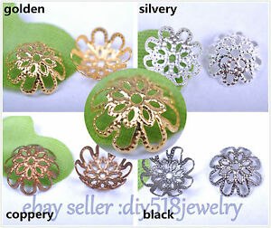 100-Piece-10-12-16mm-Flower-Bead-Caps-Spacer-Gold-Silver-DIY-Jewelry-Making-3002