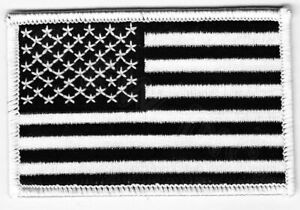 AMERICAN-FLAG-EMBROIDERED-PATCH-iron-on-US-BLACK-WHITE-embroidered-United-States