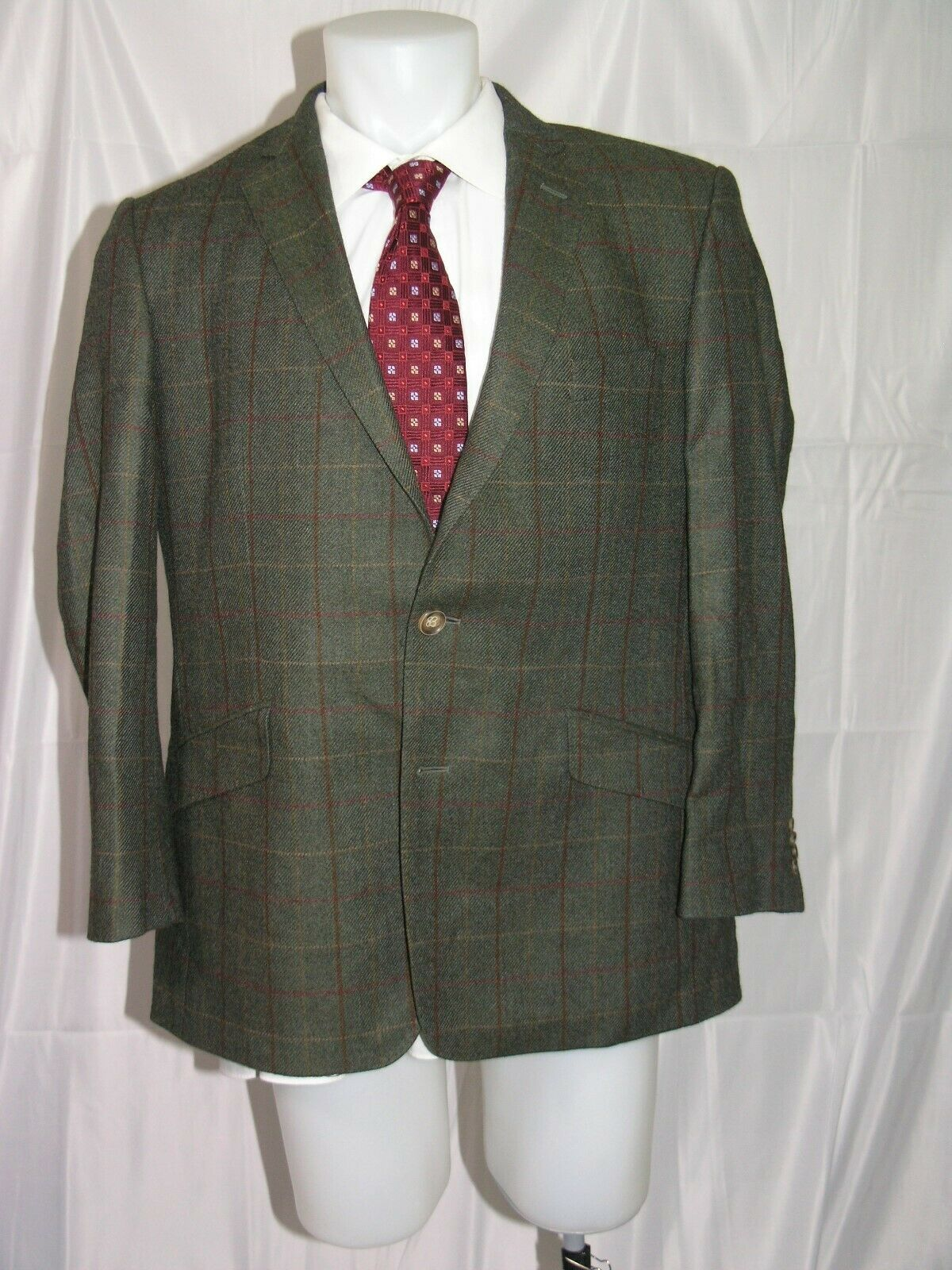 Beretta Magee Flannel Weight Window Pane Plaid Two Button Hunting Jacket 44R