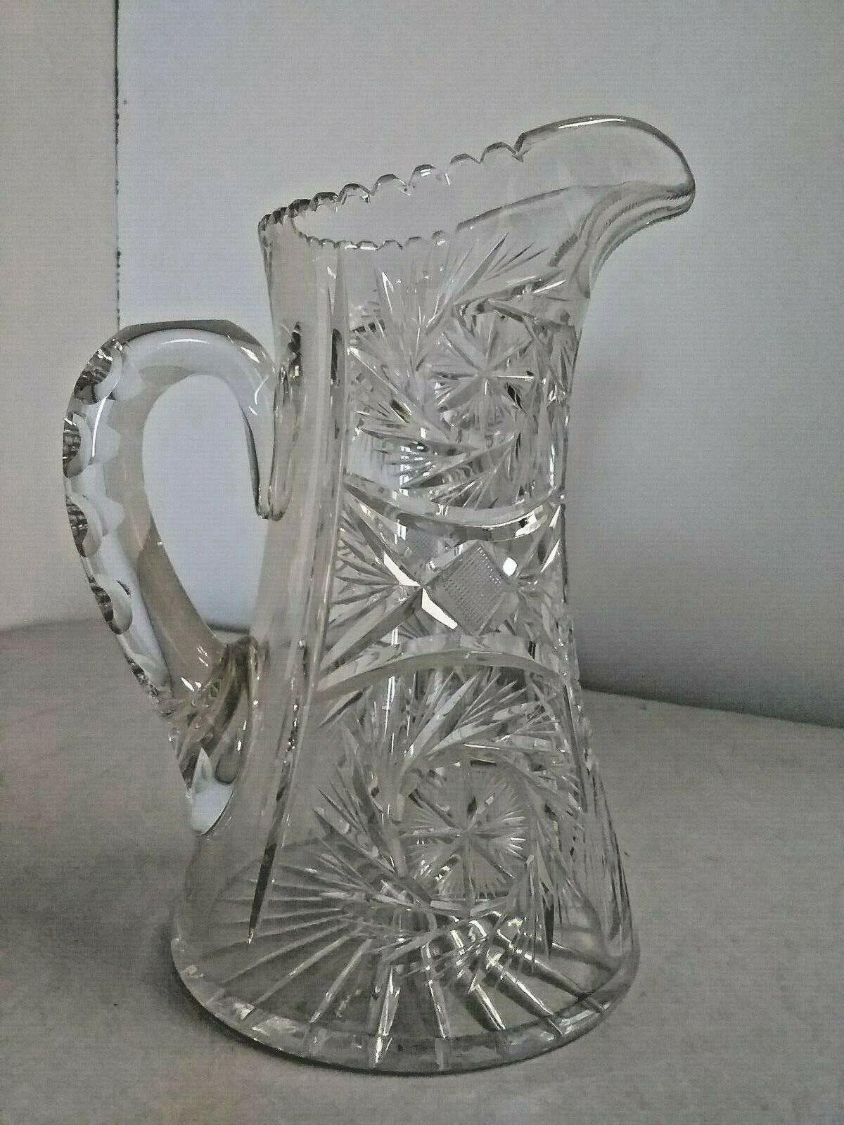 Vintage Art Deco Raised 5 Ring Clear Glass Pitcher 8\u201d Tall 5.5\u201d Across
