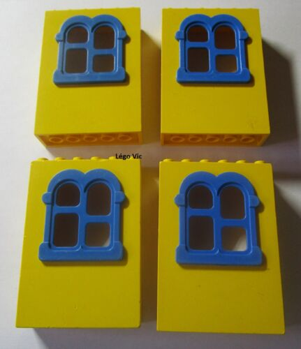 Lego Fabuland x637c01 x4 Window Fenêtre Jaune Yellow Bleu Blue du 3673 F28