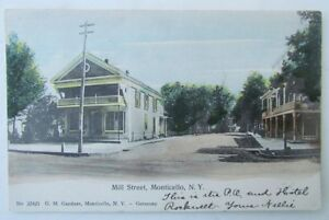 VINTAGE-1907-UNDIVIDED-POSTCARD-MILL-STREET-MONTICELLO-NY-NEW-YORK