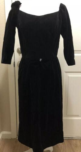 Vintage Tabak Of California Black Velvet Dress
