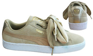 Puma-Suede-Heart-Safari-Womens-Trainers-Lace-Up-Beige-Leather-364083-01-D75