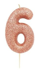 8cm Rose Gold Glitter Number 4 Candle Girls 4th Birthday Party Cake Decoration