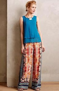 NEW-Anthropologie-Samaire-Wide-Leg-Floral-Printed-Pants-SIZE-2