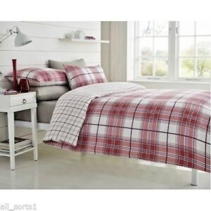 DOUBLE BED DUVET COVER SET WHITE TARTAN CHECK PRINT SQUARES RED RYDE SPICE