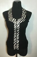 Willi Smith Sz M Exoticsatin Zebra Ribbed Black Sweater Rhinestone Zip Up