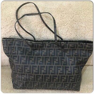 FENDI Zucca Pattern PVC Leather Vintage used Tote Bag Italy  5b2da39a50f3e