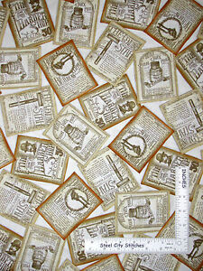 Quilting Treasures Fabric A CLOSE SHAVE Barber Shop Ads yards