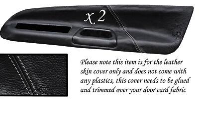Black stitch fits MITSUBISHI LANCER EVO 7 8 9 VII VIII IX 2 x Carte Porte Couvre