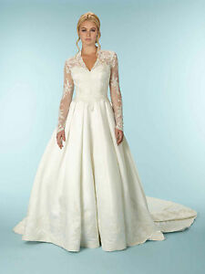 Long Sleeved Wedding Dresses.Details About Long Sleeved Style Satin Wedding Dress With Royal Train Uk Sizes 4 To 24