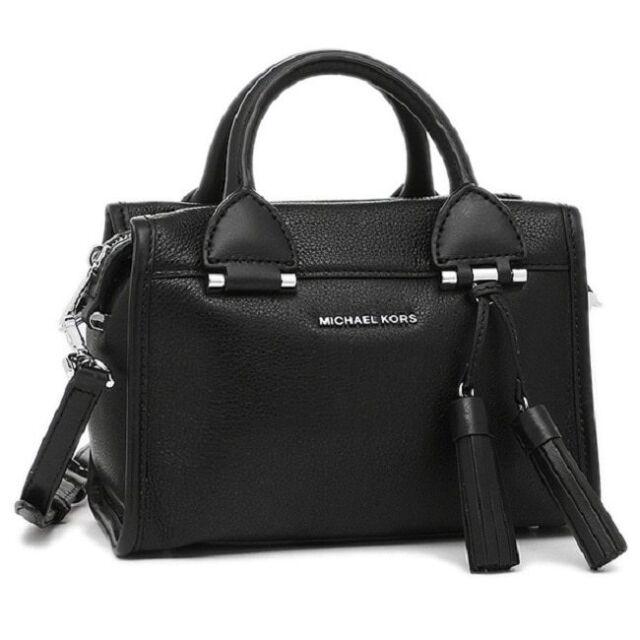 Michael Kors Geneva Small Black Leather Satchel Handbag 30f6stxs1l 001 Msrp 298