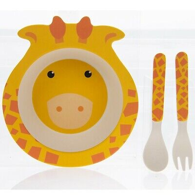 Bamboo Eco Baby Bowl Spoon Fork Set Giraffe Aromatic Flavor Cups, Dishes & Utensils Baby