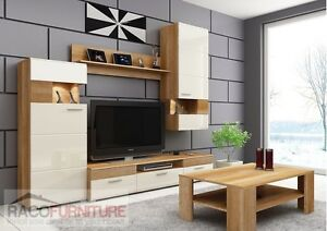 Tv Wall Unit Luigi Set No2 Modern Set Of Living Room Furniture Light Cream Gloss 7435353780065
