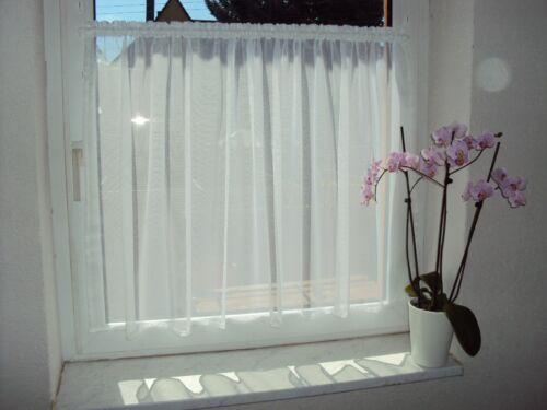 Scheibengardine Weiß  200cm x 60cm hoch Gardine Fenster 90cm bis 100cm
