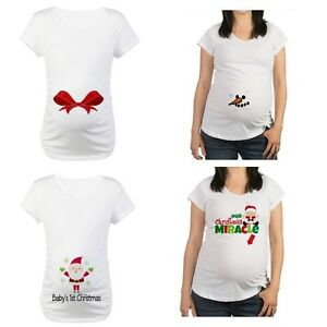 33220c6cf46f1 Image is loading New-Cafepress-Maternity-Tee-Shirt-1st-Christmas-Santa-