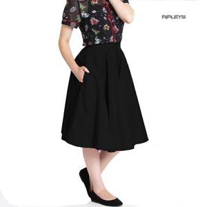Hell-Bunny-50s-Skirt-Vintage-Pin-Up-Rockabilly-PAULA-Plain-Black-All-Sizes
