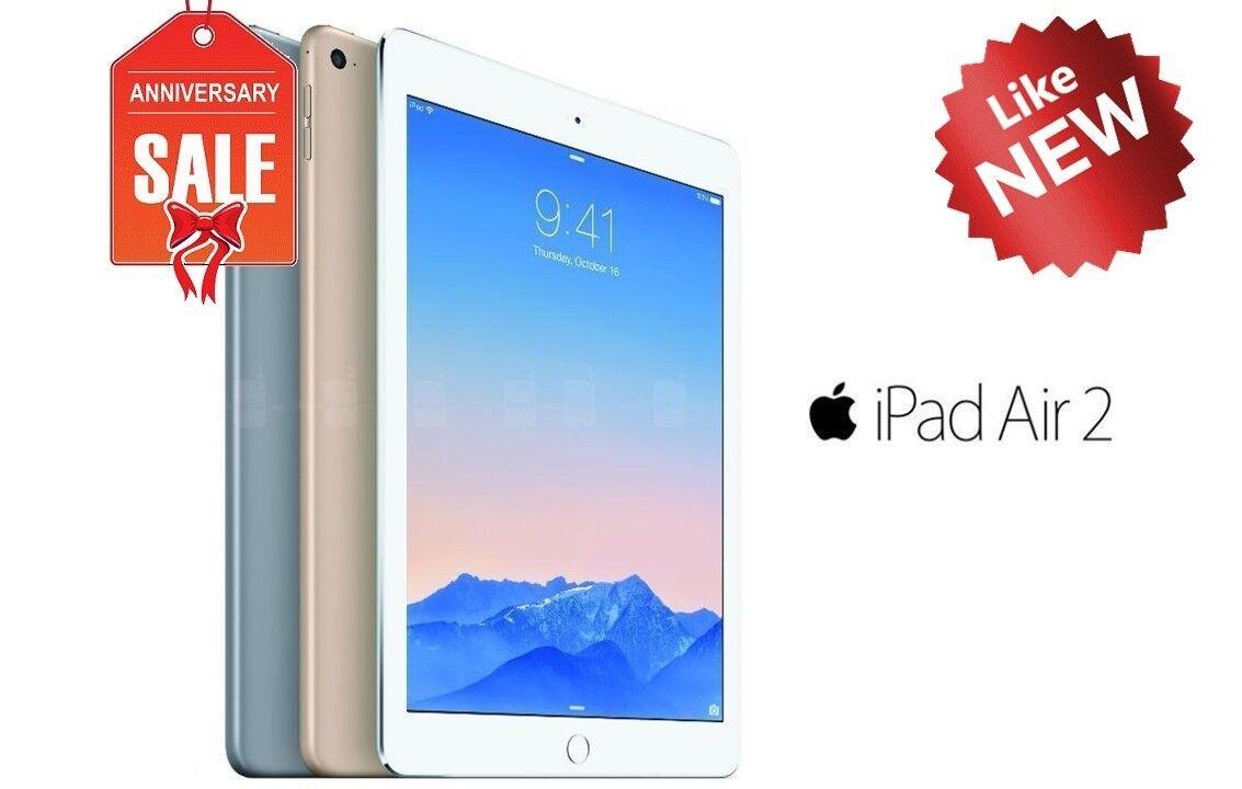 Used Apple iPad Air 2nd, WiFi + Unlocked - 16GB 32GB 64GB 128GB - Gray Silver Gold.