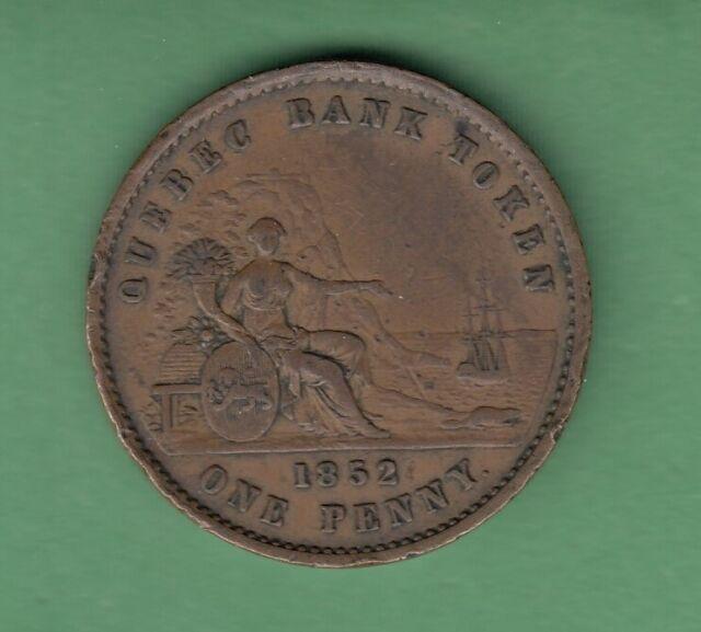1852 Quebec Bank Token One Penny - Br528 - Fine/VF