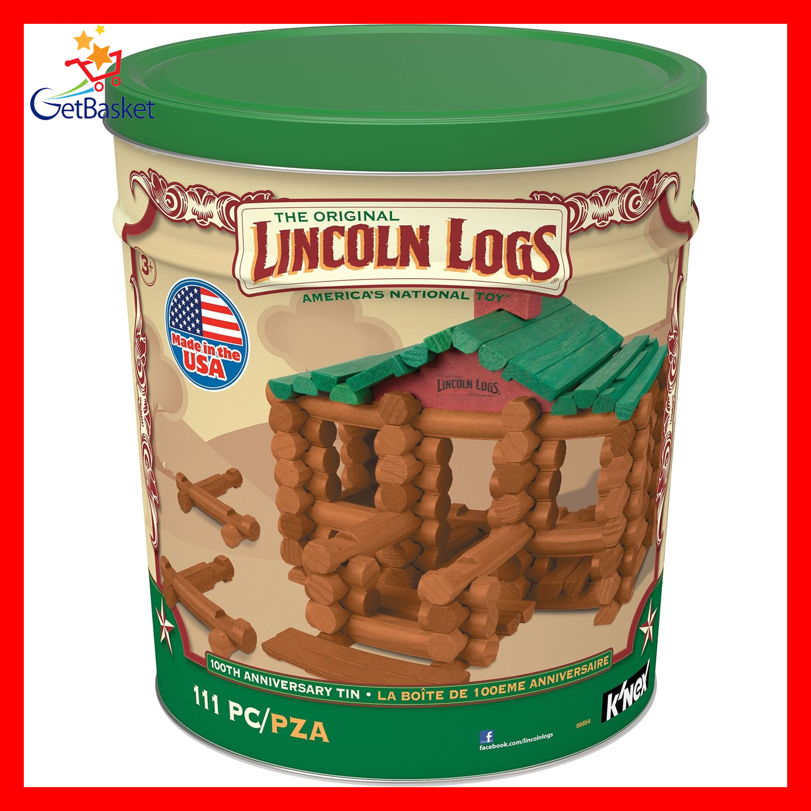 LINCOLN LOGS – 100th Anniversary Tin Tin Anniversary - 111 All-Wood Pieces – Ages 3+ e9a8ee