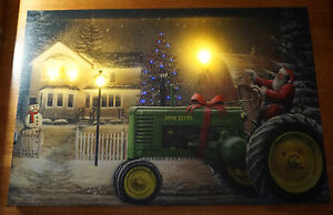 Image Is Loading SANTA JOHN DEERE TRACTOR Lighted LED Timer Christmas