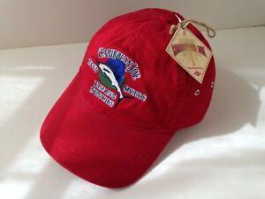 CARIBBEAN-JOE-Red-Cotton-Fishing-Let-Go-Hat-Ball-Cap-Mens-Size-OSFA-NEW-NWT