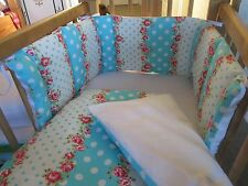 Cushi cots girls swing crib bumper and duvet set rose and turquoise spot new