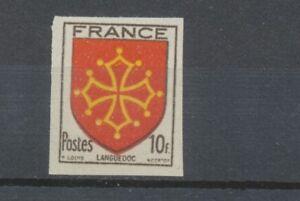 1944-France-N-603-10f-noir-carmin-et-jaune-Non-dentele-Neuf-luxe-D2809