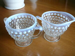 Pottery & Glass Vintage Fenton Moonstone Hobnail Cream And Sugar Opalescent Buy Now Fenton